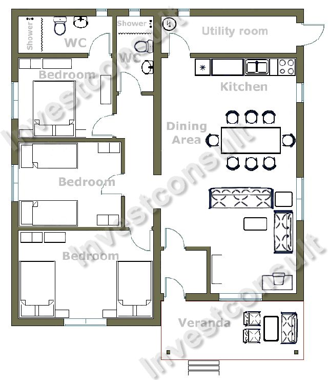 a three bedroom house design Wool Shiny Glass