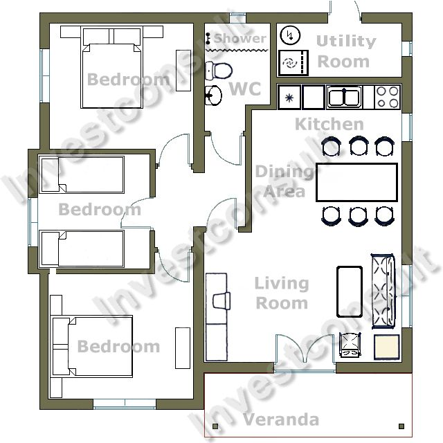 bedroom house three bedrooms one bathroom living room with dining ...