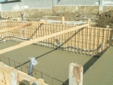 Pouring of concrete on bottom