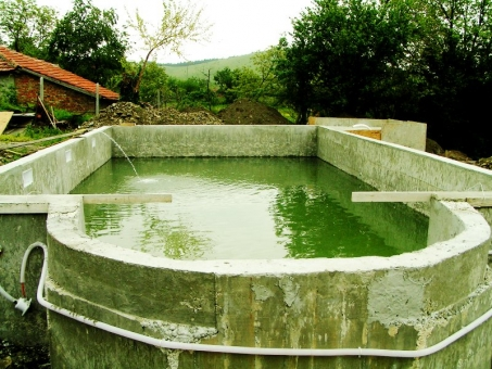 reinforced concrete shell ready - testing for leaks - swimming pool builder in Bulgaria