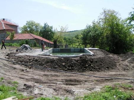 Work on the inground swimming pool in Bulgaria - preparing for landscaping