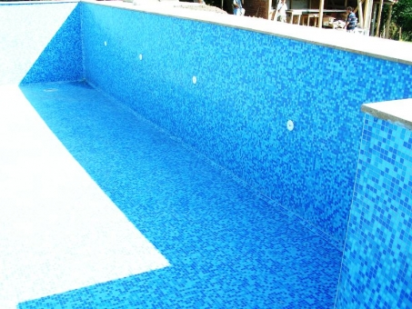 finished concrete swimming pool with sand filter - finished