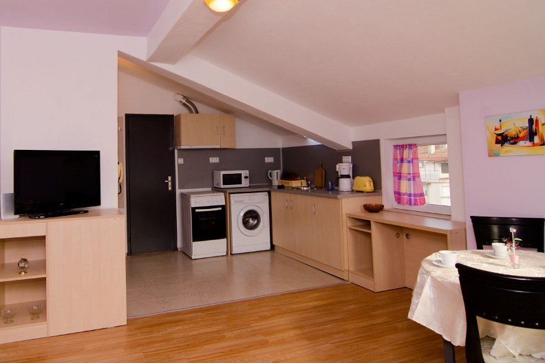 Look to the kitchen area